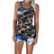 Women's Summer Tank Tops Camouflage Wild Round Neck Sleeveless  Casual Vest