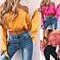 Women Sexy Off Shoulder Slash Neck Chiffon Blouse Flare Sleeve Tops