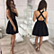 Women Sleeveless Cami Dress Backless V Neck Fit Flare Solid Dress