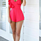 Women Spaghetti Strap Ruffles Rompers Sexy Deep V-neck Backless Jumpsuits