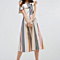 Womens Sexy Off Shoulder Ruffles Colorful Striped Dress