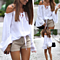 Womens White Long Sleeve Style Off The Shoulder Beach Batwing Sleeve Blouses