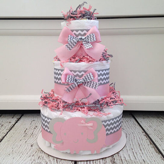 buy chevron elephant diaper cake pink and gray by alldiapercakes on