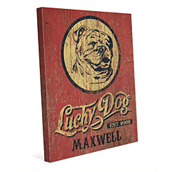 Custom Name & Date Lucky Dog Bulldog Vintage Indoor Sign on Red Wall Art Print