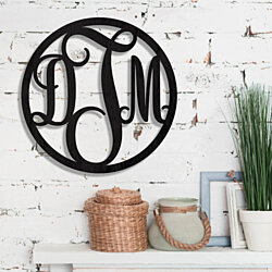 Custom Wood Monogram Classic Lettering in Circle Wall Décor