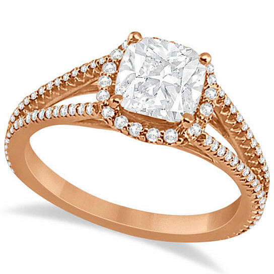 Buy Cushion Cut Moissanite Engagement Ring Diamond Halo 18K Rose Gold 1 84ct