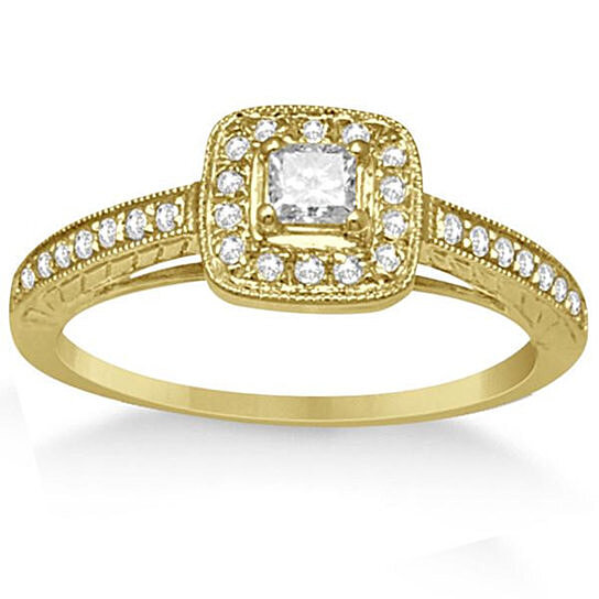 buy bridal set square halo engagement ring and