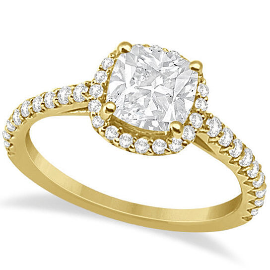 Buy Halo Design Cushion Cut Diamond Engagement Ring 14K Yellow Gold 0 88ct