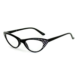 """Bravo"" Retro Cat-Eye Readers with Austrian Crystals for Women"