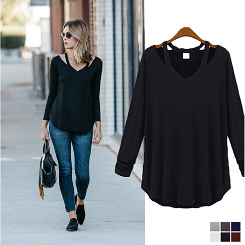 Cut Loose Long-Sleeved V-Neck Shirt