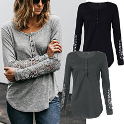 Lace Sleeve Henley Shirt
