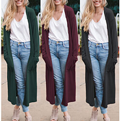 Cozy Longline Cardigan With Pockets, Multiple Colors