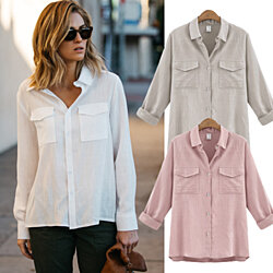 Loose Cut Linen/Cotton Button Up Breathable Shirt