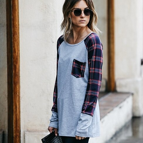 Pretty in Plaid Long Sleeve Pocket Tee