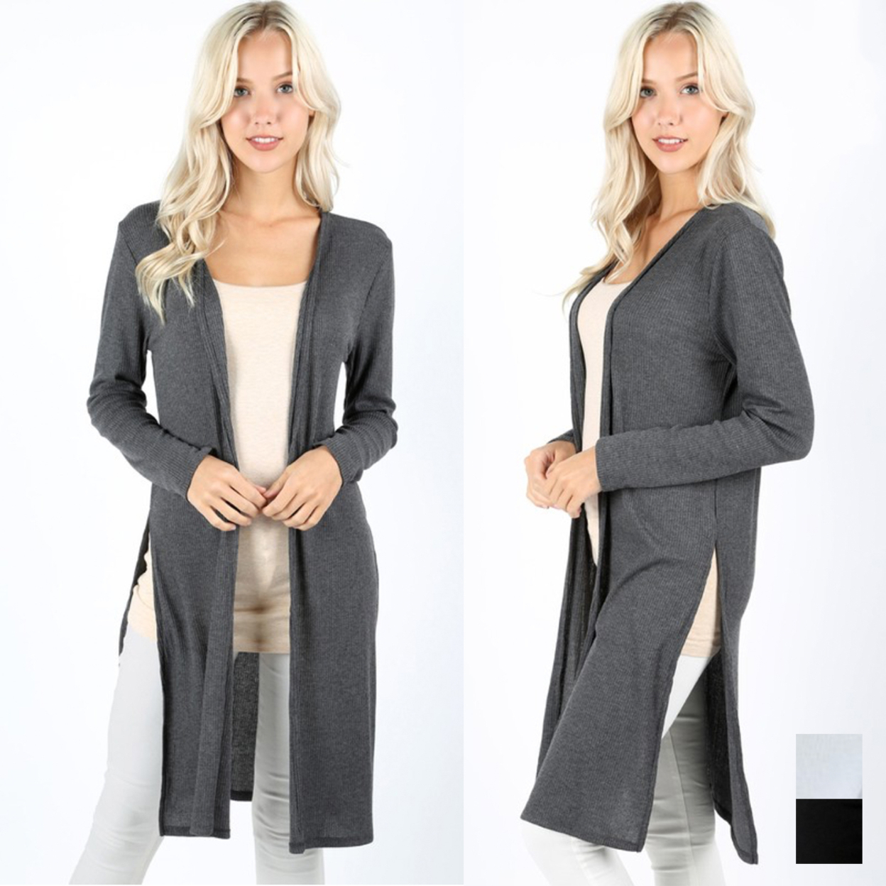 Ribbed Side Slit Cardigan - Dark Gray, Small (2-4) 5978e9722b59ca302a382c32