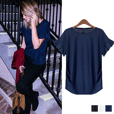Elegant Pleated Short Sleeve Top