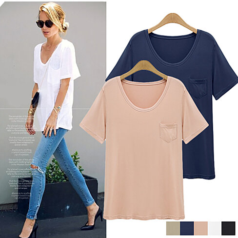 'Soft Crush' U Neck One Pocket Silky Soft Tee