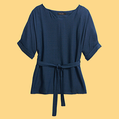 Linen-Blend Loose-Cut Casual Short Sleeve Top with Belt