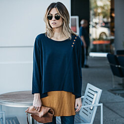 Two-Tone Loose Layered Blouse