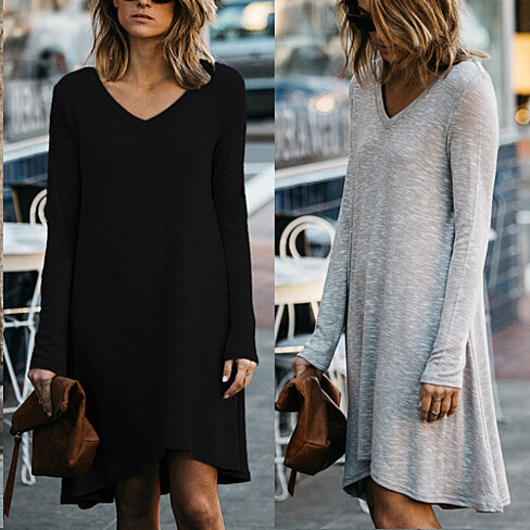 V-Neck Flowy Long Sleeve Tunic