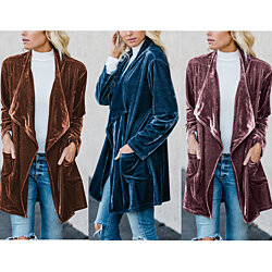 Women's Velvet Drape Cardigan, S-3XL, Multiple Colors Available