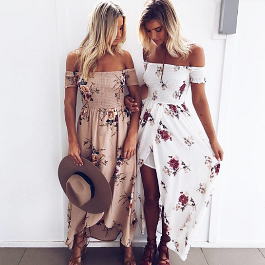 b367826a6407 in the last 24 hours. Boho style long dress women Off shoulder beach summer dresses  Floral print Vintage chiffon white maxi