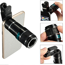 Telescope Lens 12X Universal Optical Mobile Telephoto Clip On Zoom Camera Lens Kit for Concert Hunting Camping Bird Watching