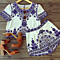 Women's Blue White Porcelain Print Two Piece Top+Short Pants