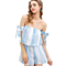 Women's Casual Striped Off Shoulder Romper Jumpsuit 2 Piece Outfit Set