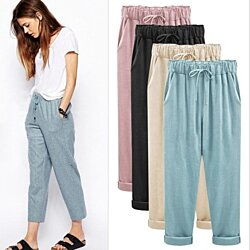 Women's Elastic Cotton Pants