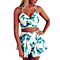 Women's Floral Print 2 Pieces Crop Top+ Short Pants Jumpsuits
