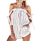 Women's Off Shoulder Striped Jumpsuit Romper Summer Beach Two Piece Set Playsuit
