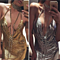Women's Sexy Clubwear Sequins Spaghetti Strap Backless V Neck Mini Dress