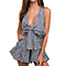 Women's Sexy Deep V Neck Plaid Mini Romper Short Sleeveless Playsuit