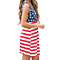 Women's Sleeveless Floral Print Stars and Stripes Racerback Midi Tank Dress USA Flag
