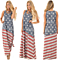 Women's Summer USA Flag Sleeveless Tank Dress Floor Length Maxi Dress