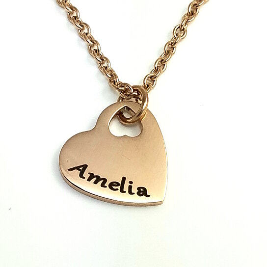 Buy Rose Tone Premium Heart Pendant Personalized With