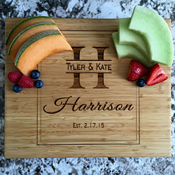 Personalized 11x13 Bamboo Cutting Board for Weddings, Anniversaries and Special Occasions