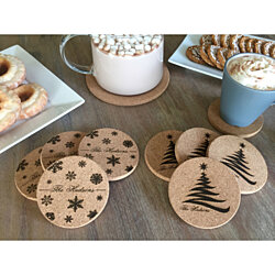 Personalized Holiday Thick Cork Coasters - Set of 4! - 2 Amazing Designs