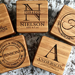 Personalized Thick Bamboo Coasters - Set of 2! - 5 Amazing Designs!