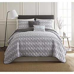 5 piece printed reversible quilt set