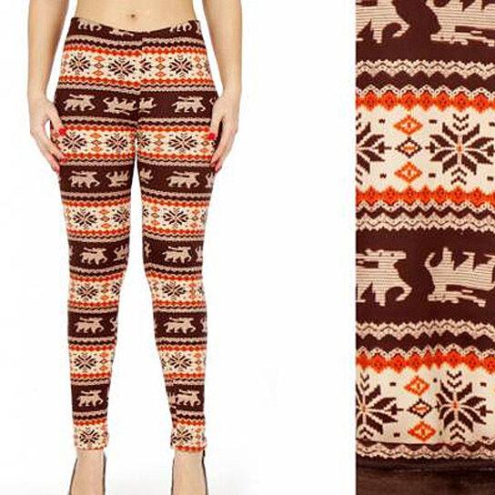 0f7522e32a8ba Buy Women Winter Nordic Christmas Deer Snowflake Printed Fur Lined Fleece  Blanket Leggings Pants by Girl N  Glam on OpenSky