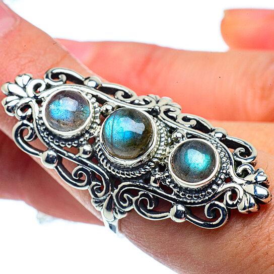 triple stone labradorite ring
