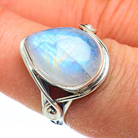 Rainbow Moonstone Gemstone Bezel Style 925 Sterling Silver Ring7US