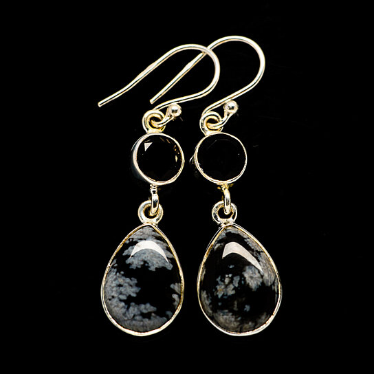 Sterling silver dangle earrings with snowflake obsidian and onyx