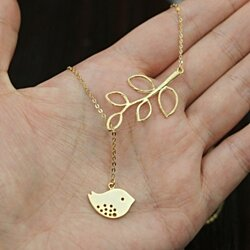 Bird with Leaf lariat Gold Necklace