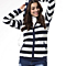 Large Size Long Sleeve Striped Sweater With Hood