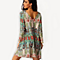 Vintage Ethnic Style Loose Early Spring Nine-point Sleeve Dress