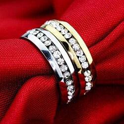 Stainless Steel Crystal Eternity Ring