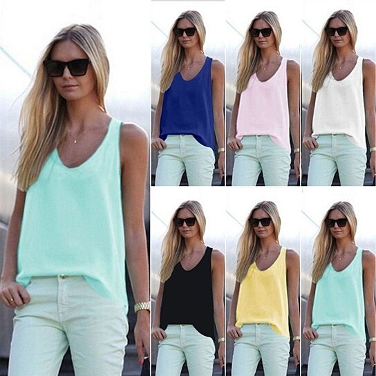 9ec8f364a7b2 to cart 96 times in the last 24 hours. Womens V Neck Chiffon Sleeveless  Vest Blouse Summer Tank Tops T-Shirt ...